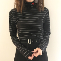 Korean Soft Sister Cute Heart Shaped Embroidered Stripe T Shirt Women Autumn Winter Turtleneck Long Sleeve
