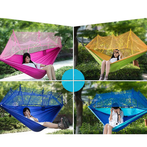 Image 2 - Portable Mosquito Net Camping Hammock Single Double Ultralight Parachute Hunting Hammocks Sleeping Hanging Bed Outdoor Furniture