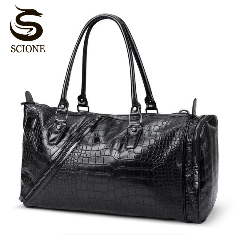 Crocodile Pattern Men Leather Travel Bag Casual Male PU Handbags Messenger Bag Business Travel Duffel Bags Large Capacity Tote стоимость