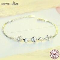 Dower Me 925 Sterling Silver Women S Accessories Bracelet Heart Connect Heart Sharp Diamond Double Bracelets