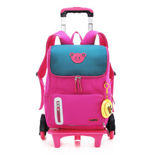 New Removable Children School Bags with 2/6 Wheels for Girls Trolley Backpack Kids Wheeled Bag Book bag travel luggage Mochila 2 6 wheels boys trolley backpack wheeled school bag children travel luggage suitcase on wheels kids rolling book bag detachable
