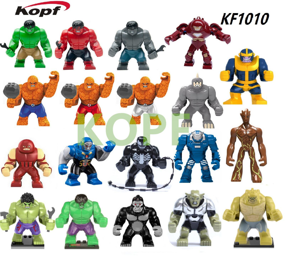 Super Heroes 7CM Colossus Abomination Hulk Killer Croc Big Thing Rocket Raccoon Lady Dogshank Building Blocks Kids Toys KF1010