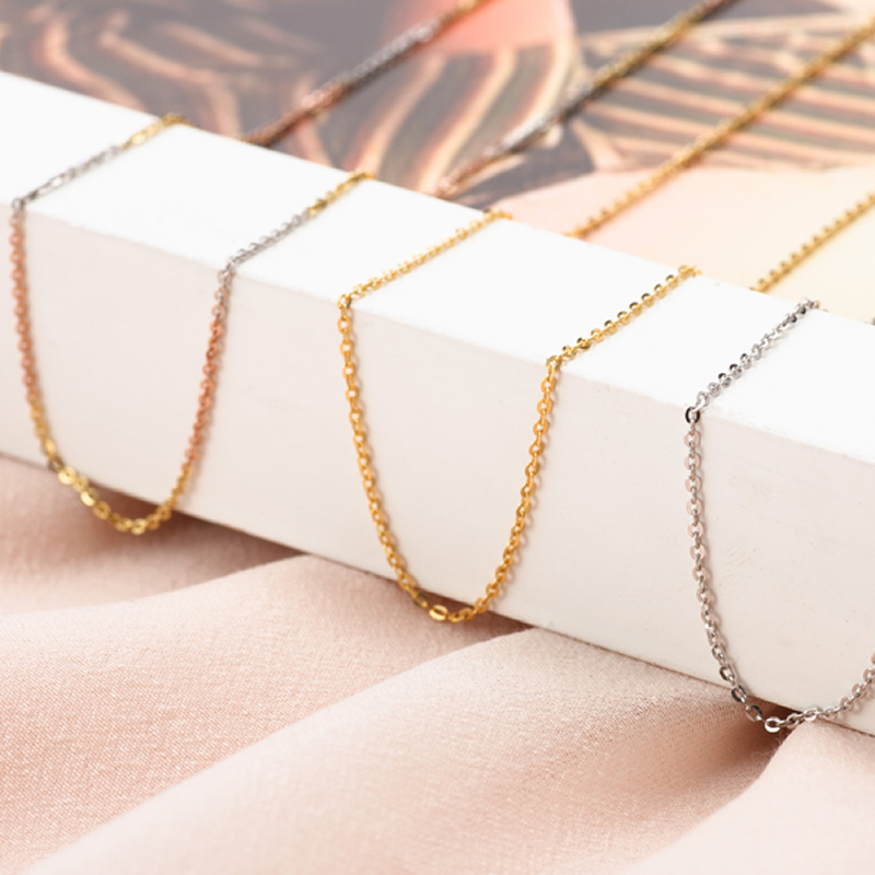 Pure AU750 Gold Necklace Women O Necklace Chain 1gPure AU750 Gold Necklace Women O Necklace Chain 1g