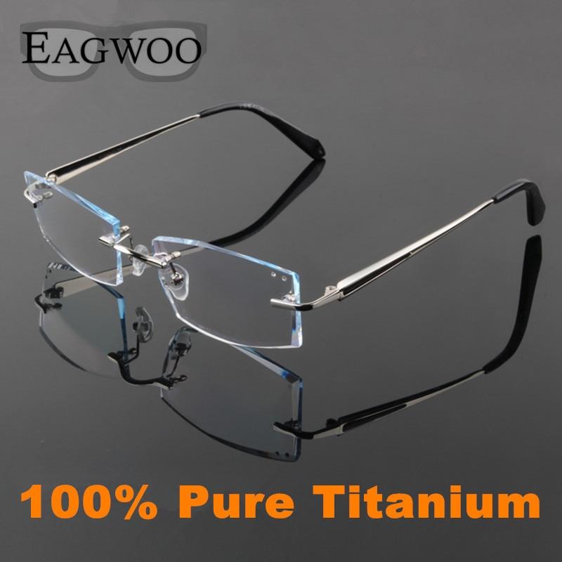 EAGWOO Pure Titanium Eyeglasses Men Rimless Prescription Reading Myopia Glasses Big Wide Spectacle Framless Eyewear 2052