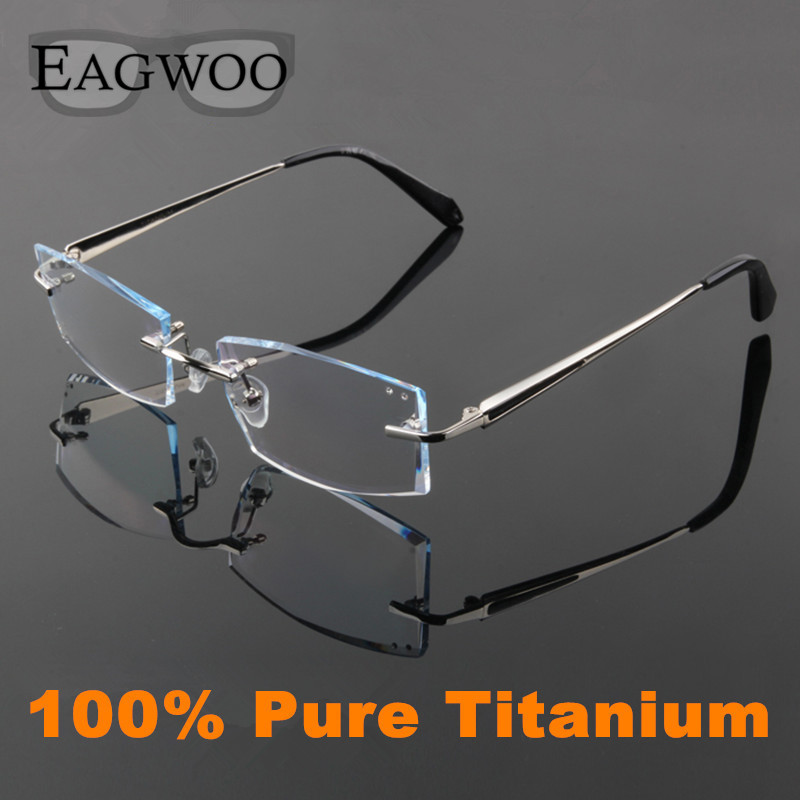EAGWOO Reinem Titan Brillen Männer Randlose Rezept Lesen Myopie ...
