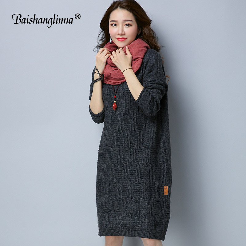 Baishanglinna 2017 autumn sweater winter dress casual knitted long sweater dress women wool Turtleneck loose dress female new ryeon winter autumn sweater dresses big size women turtleneck long sleeve loose casual grey sexy pullover knitted sweater jumper