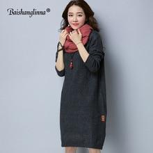 Фотография Baishanglinna 2017 autumn sweater winter dress casual knitted long sweater dress women wool Turtleneck loose dress female new