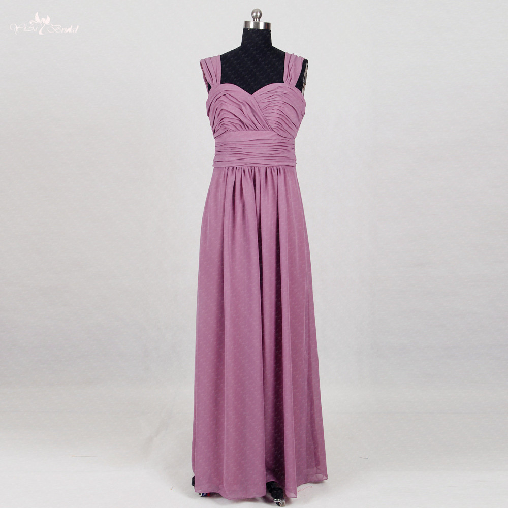 Affordable Wedding Guest Dresses: RSE760 Long Chiffon Cheap Wedding Guest Dress Pleated Bust