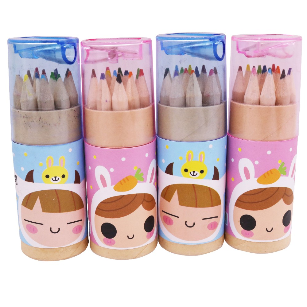 120pcs 10 Barrel 12 Color High Quality Barreled Small Pencil Fine Frawing Sketch Writing Drawing Pencil Case Mini Stationery