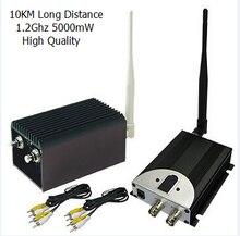 Caliente venta 10 KM largo alcance transmisor Video sin hilos y receptor con 5000 mw, 8 canales CCTV transmisor inalámbrico de 5 W alta potencia