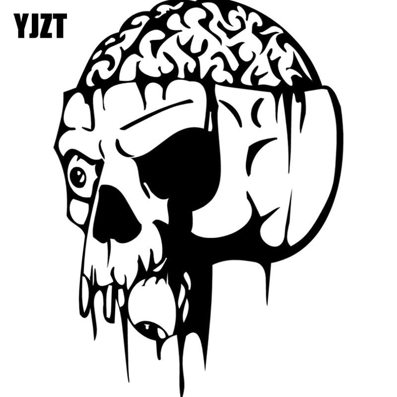 Yjzt 10 4x13 9cm Cartoon Zombie Skull Brain Vinyl Car Stickers Black