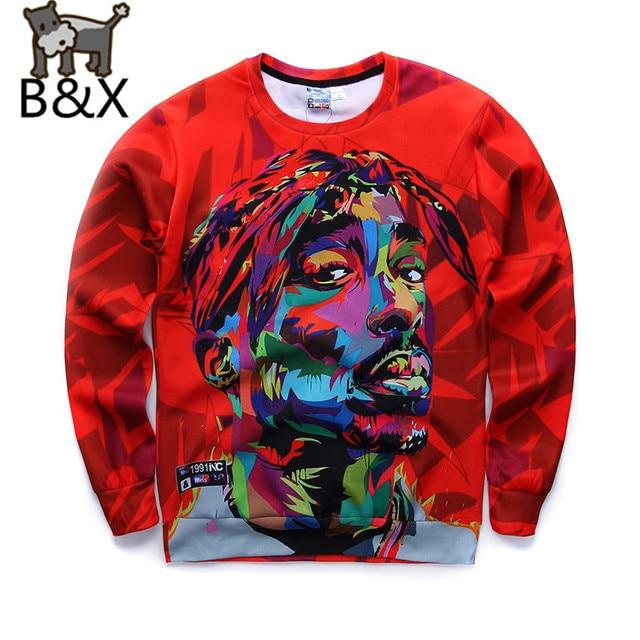 2016 New Men Sweatshirts 3D Harajuku 2Pac Tupac Biggie American gangster Rap Hoodies TUPAC SHAKUR CREWNECK Sweats Pullover Tops