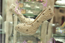 Gorgeous And Fashion Satin Upper Stiletto Heel Closed Toe With Imitation Pearl Rhinestone Wedding Shoes Party Shoes Bridal Shoes