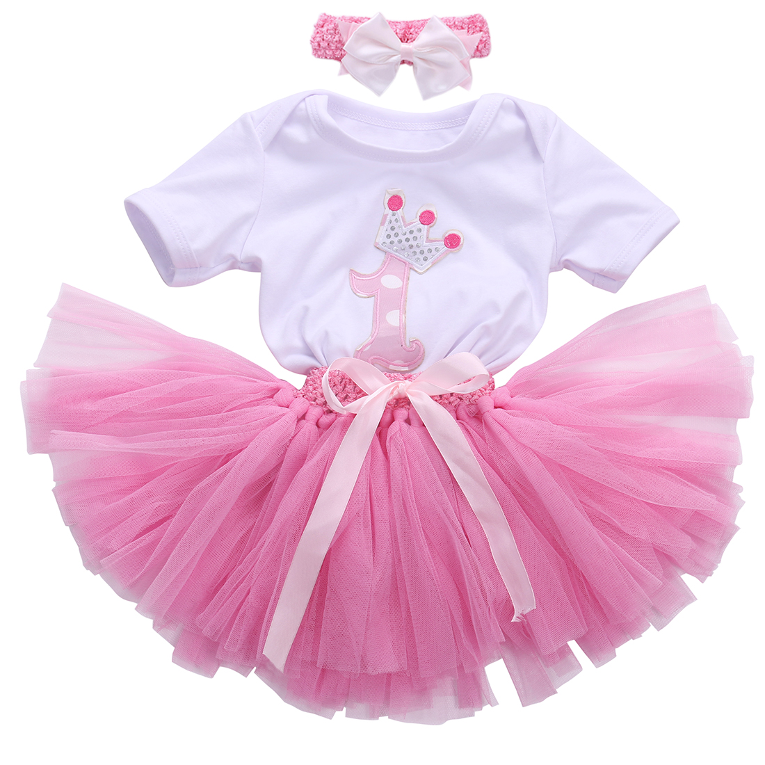 Kids Baby Girl Birthday Dress One Year Clothing Set White Short T-Shirt Romper Tops+Pink Tutu Cake Dress+Bow Headhand Outfits