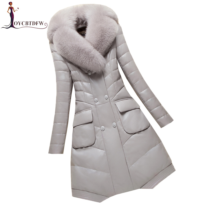 Women Winter Pu   Leather   Cotton Coat Mid Long Large Size Thicken Parka 2018 New Imitation Fox Fur Collar   Leather   Outerwear XY415