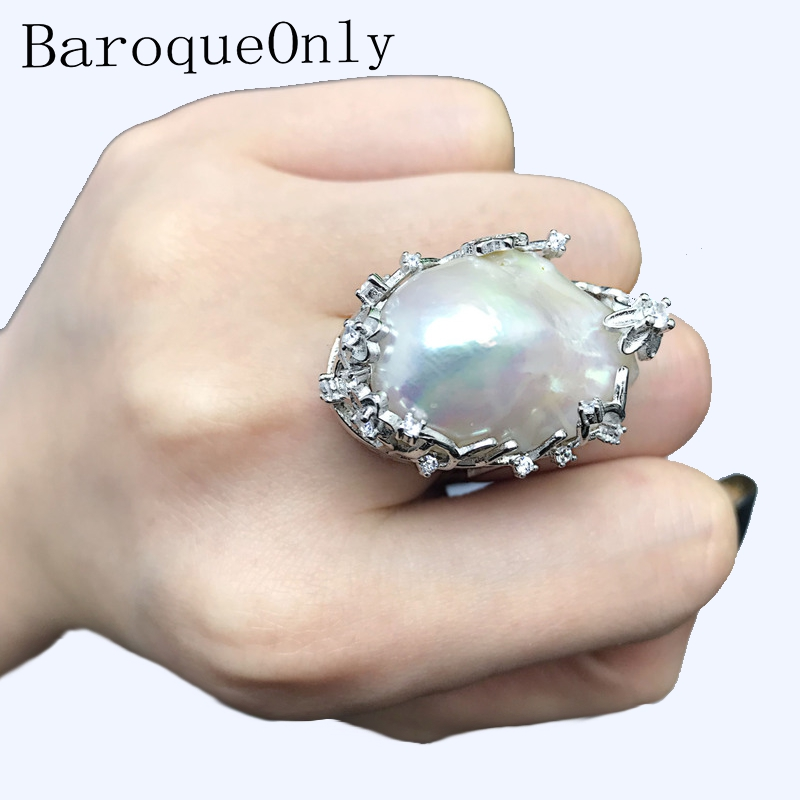 BaroqueOnly perle d'eau douce naturelle 925 bague en argent grande taille haute brillance Baroque irrégulière perle anneau, femmes cadeaux RA