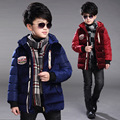 Boys Winter Jackets Plus Velvet Thicken Cotton Hooded Coats For Boys Children Clothing Warm Boys Outerwear