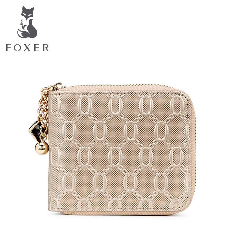 Prix pour Foxer marque femmes en cuir courte portefeuille fille portefeuille femmes portefeuilles de femme sac à main porte-monnaie pour femmes