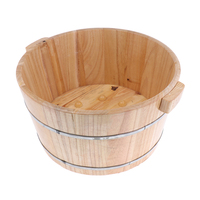 Natural Wood Foot Bath Water Wash Barrel Solid Feet Spa Bucket Tub Basin Washing Bowl