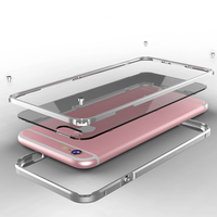 For Apple IPhone 6 6S Case Metal Aluminum Bumper Clear Transparent PC Cover Phone Armor For