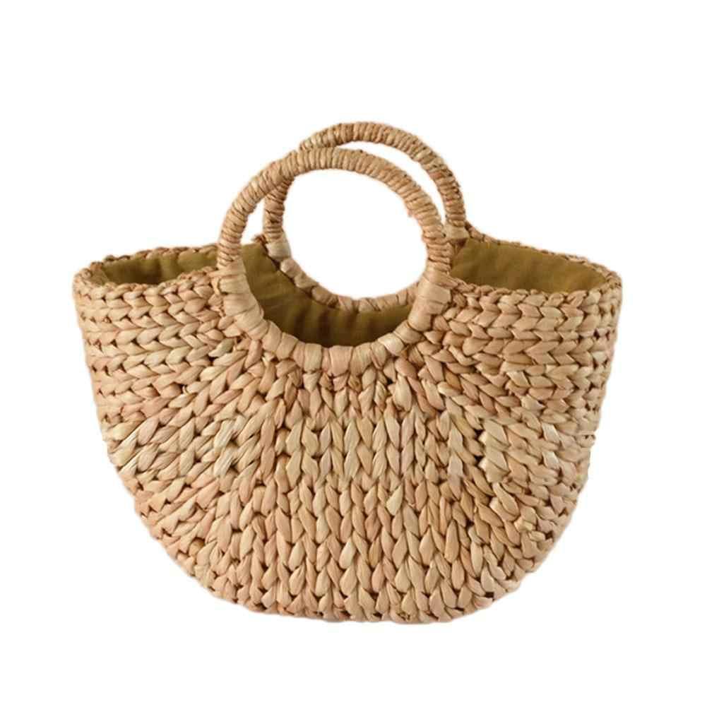 31c1de96e816f9 Fashion Moon Bag Fresh Yellow Grass Straw Braided Natural Rattan Bags  Semi-circle Handbag Straw