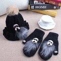 O envio gratuito de Mulheres Luvas de Inverno imagem dos desenhos animados estilo coelho cabelo produto maré misturado luva manter aquecido luvas e chapéu para feminino
