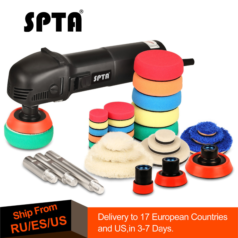 SPTA 780W Mini Car Polishing Machine Roary Orbital Hand Car Polisher Auto 27Pc Polish Detailing Pad Drill 75mm 100mm 140mm Shaft