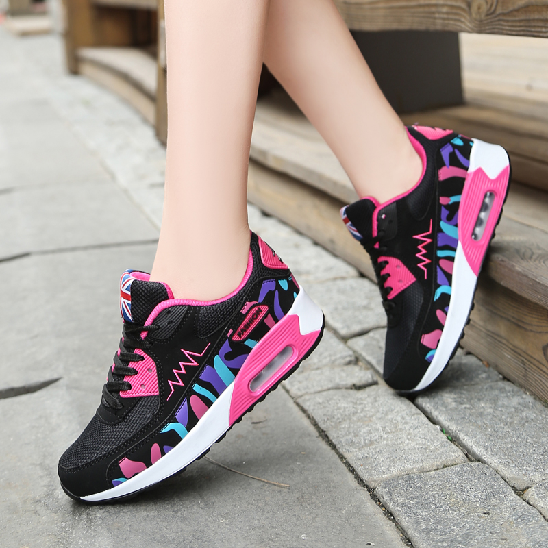 ФОТО Hot New 2016 Fashion High Heeled Women Casual Shoes Breathable Air Mesh Outdoor Walking Sport Woman Shoes Zapatillas Mujer 35-40