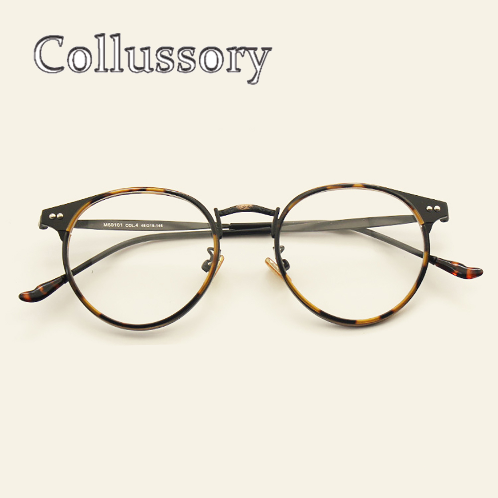 Vintage Round Oversize Eyeglasses Frames For Women's Men's Retro Optical Prescription Glasses Spectacle Brand Designer Eyewear