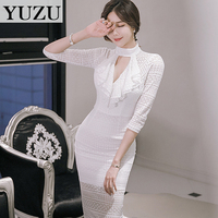 2017 Spring Office Dress Sexy Hollow Out Three Quarter sleeve Bodycon Women White Midi Pencil Lace Dress Vintage Party Dresses