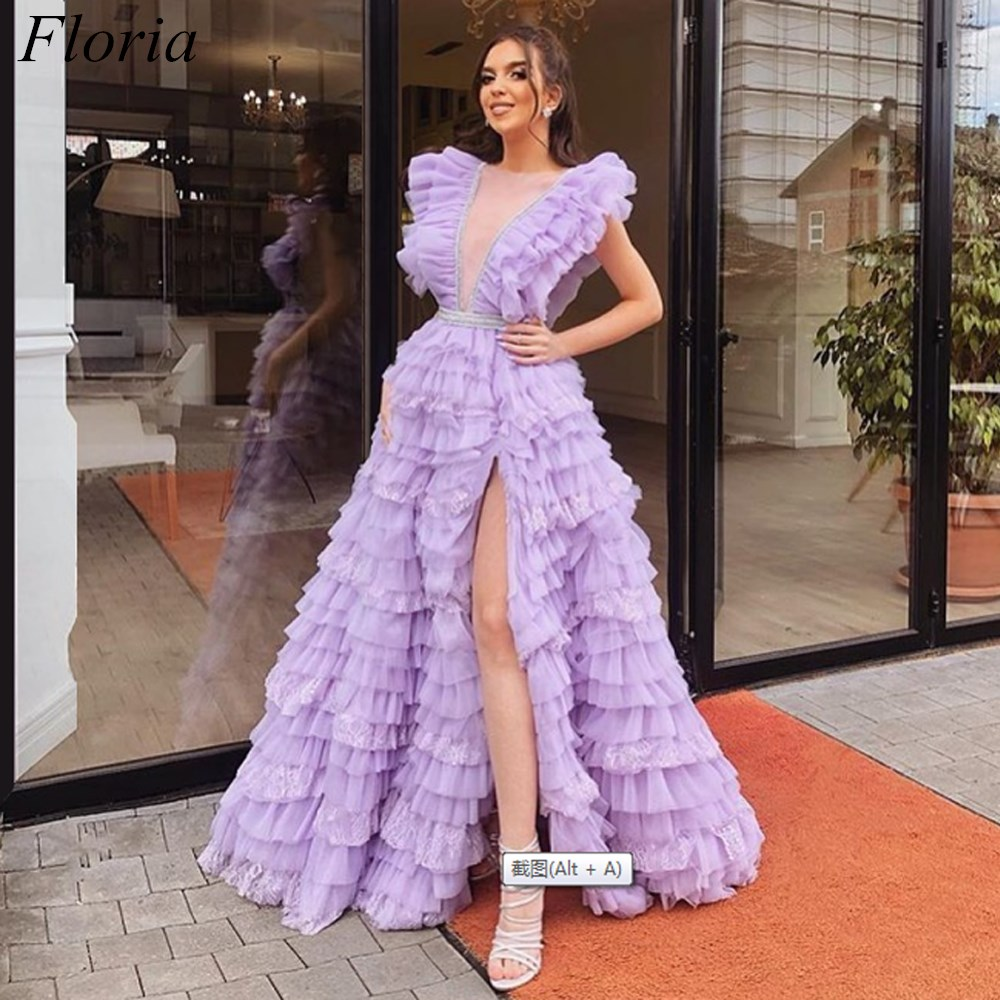 New Fashion Light Purple   Prom     Dresses   2019 A-Line Long Dubai Evening   Prom   Party Gowns Sexy Red Carpet   Dress   Tiered Vestidos