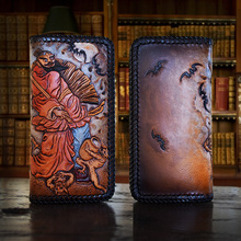 OLG.YAT Italian Vegetable tanned cowhide handmade long section of zipper handbag cowhide Zhong Kui catches ghosts retro wallet
