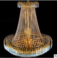 Living room chandelier double staircase crystal chandelier hotel villa hall yellow crystal lamp chandelier