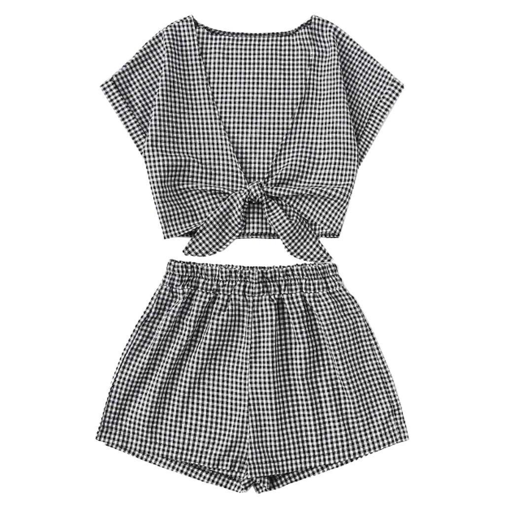 Fashion Women Plaid Printed Short Sleeve Bandage V-Neck Blouse+Shorts Hot Pants Set Suit Conjuntos De Mujer