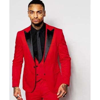 Fashion Red Mens Suits Black Peaked Lapel Three Pieces Groom Tuxedo men suit Custom Made Slim Fit Groomsmen ( Jacket+Pants+Vest)