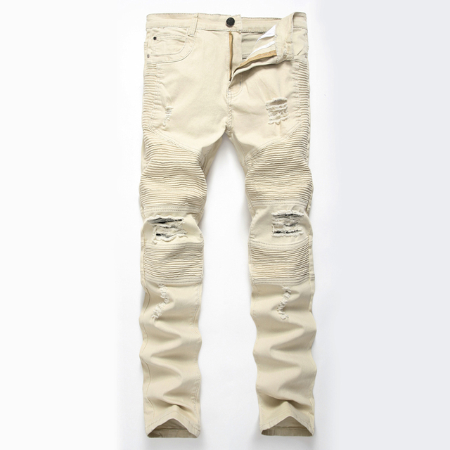 Brand Biker Jeans Men 2017 Autumn Fashion Pleated Knee Holes Design Mens Skinny Jeans Casual Washed Cotton Hip Hop Jeans Homme