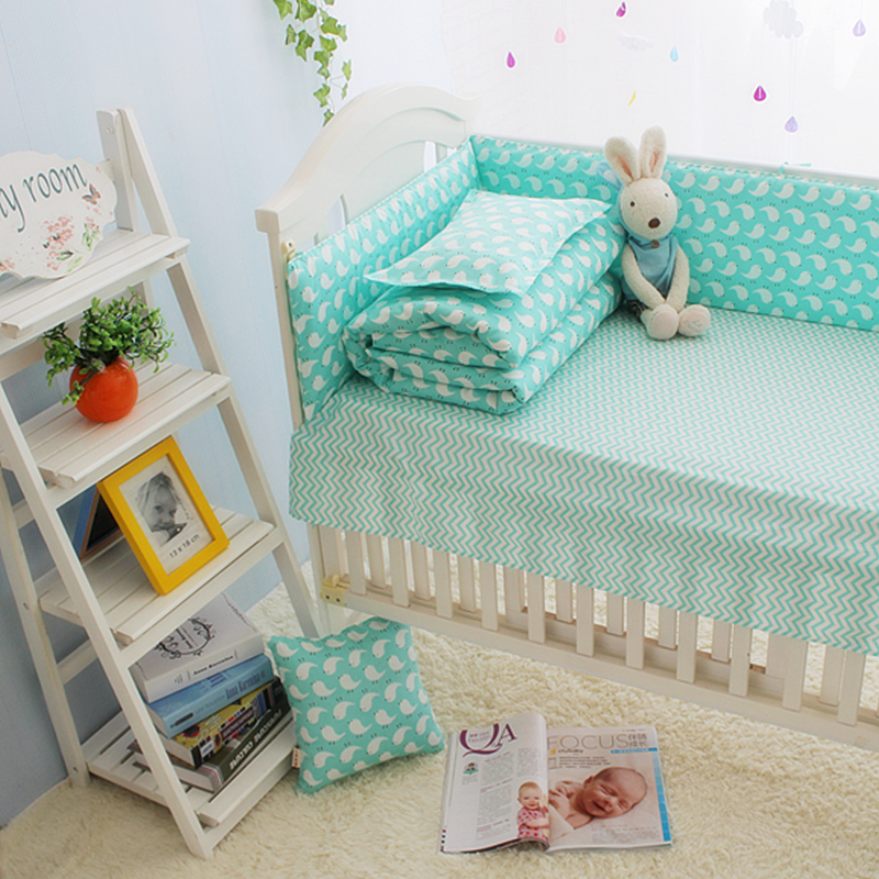ФОТО Hot Sale Green Baby Girl Cot Crib Bedding Sets, organizer for baby bed,100%Cotton baby beddengoed set cartoon