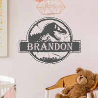 Personalized Name Jurassic Park Dinosaur World Wall Sticker Vinyl Home Decor Kids Room Boys Child's Gift Decal Custom Mural 3N37