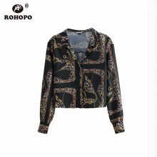 ROHOPO  Women Leopard Long Sleeve Blouse Notched Collar Retro Art Girl Vintage Crop Top Shirt #OYK8759