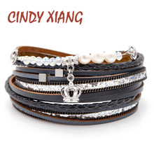 CINDY XIANG Crystal Beads And Freshwater Pearl Leather Braclets For Women Men Fashion Multi-layer Bangles Cuff Bracelets