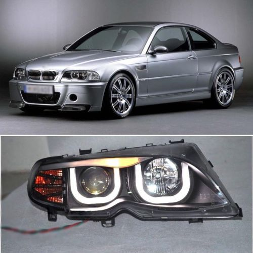 Ownsun Dual 3D Rectangle CCFL Angel Eye DRL Projector Headlight for BMW 3 E46 2002-2005 ownsun superb u shape led headlight angel eye projector lens for vw tiguan 2010 2012 model