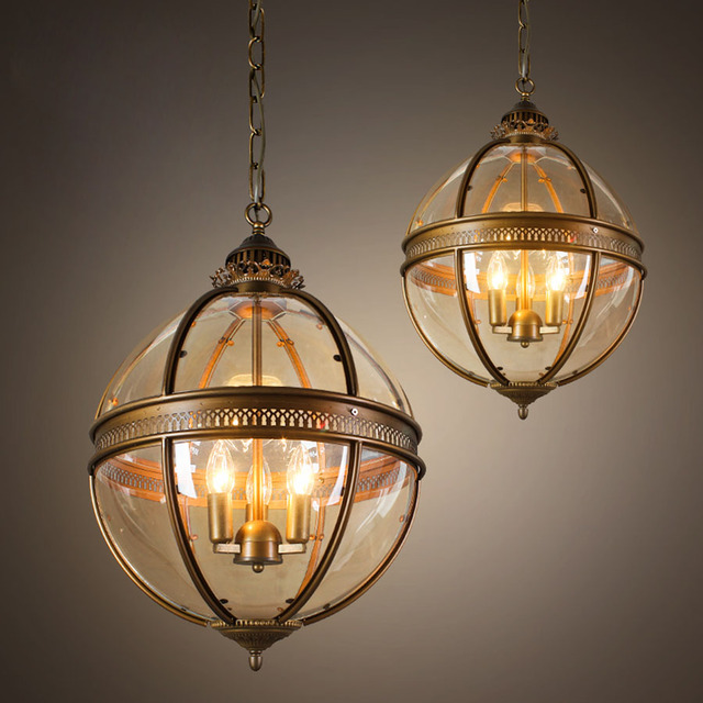 Vintage Globe Chandeliers 3 Lights E12 E14 Transpa Glass Metal Painting Loft For Living Dinning
