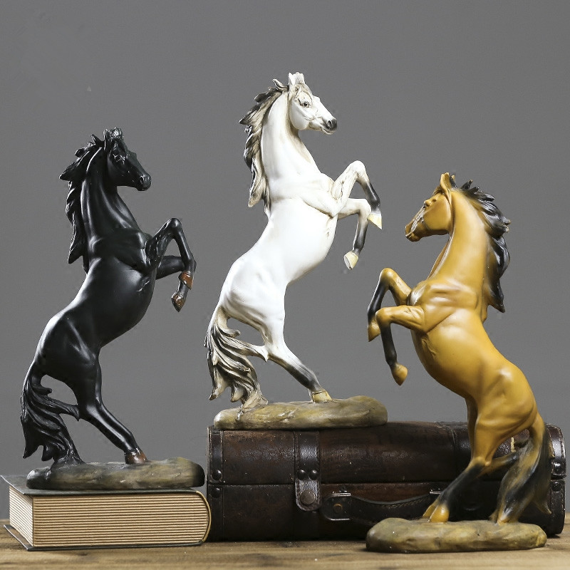 Resin Vintage Horse To The Success Black And White Horse Figurines Statues Modern Home Decors