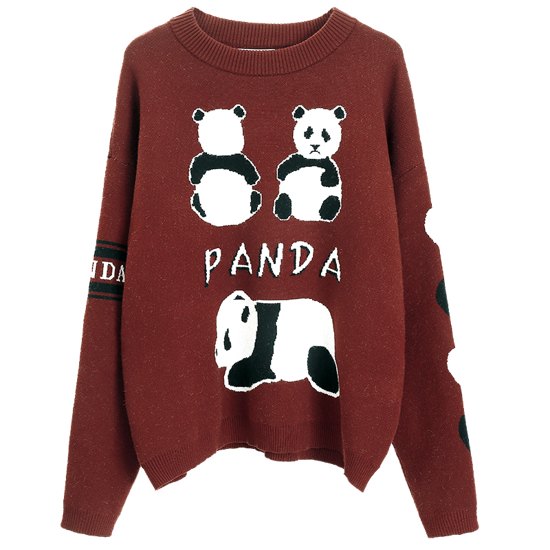 2019 New Autumn Sweater Women's College Wind Cute Panda Sweater Loose Round Neck Harajuku Cartoon Thick Long Sleeve Sweater