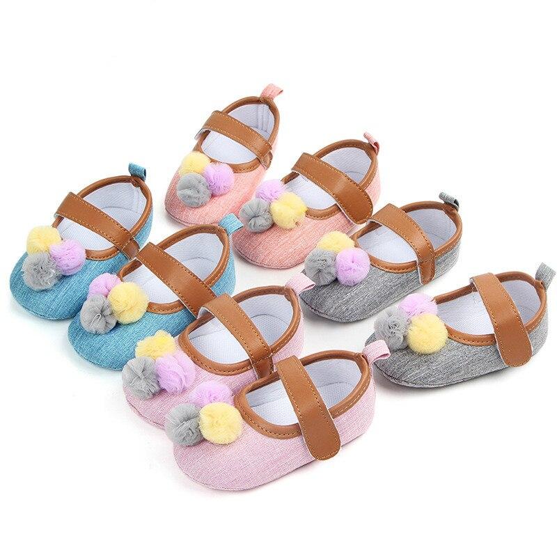 2018 New Bebe Baby Girls Newborn Cute Ball Prewalker Shoes Infantil Princess Toddler First Walkers Ballet Dress Bebe Shoes