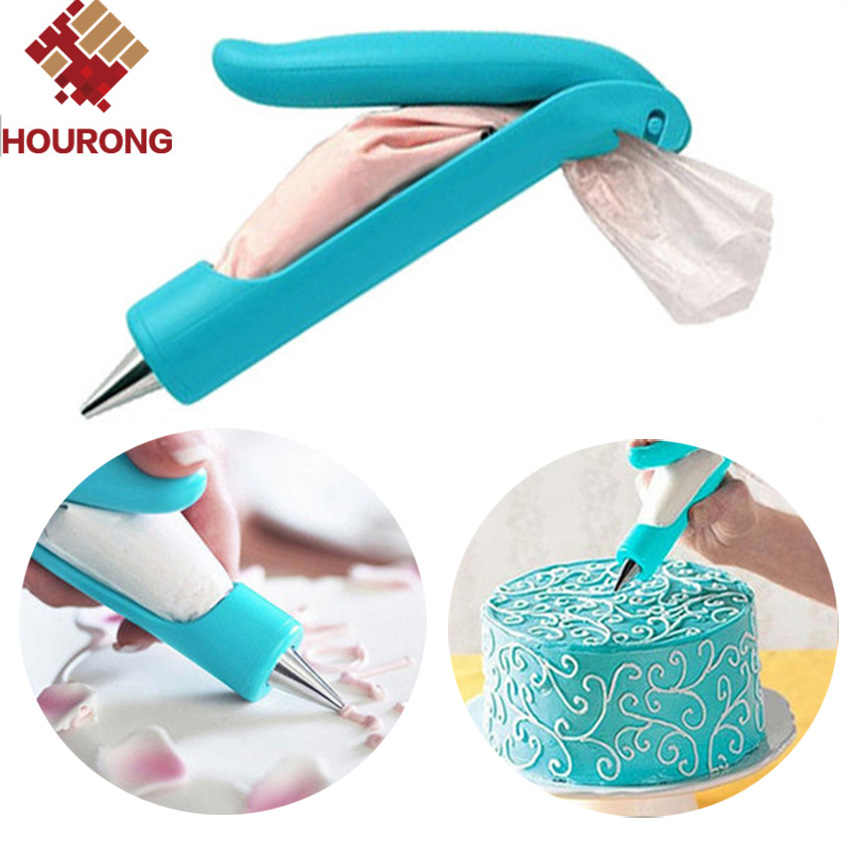 HOURONG 1Pc Pastry Icing Piping Bag Nozzle Tip Nozzle Set Dessert Decorator Cake Decorating Tool Cream Syringe Muffin Cake Pen