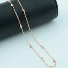 3 мм широкий бисер мода женщин 585 розовое золото овальный шар ожерелье бисерная цепь 50 см 60 см ювелирные изделия