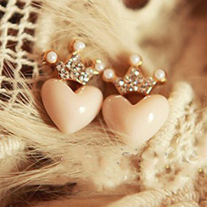 Новые Хрустальные серьги в форме сердца, серьги клипсы для девочек, вечерние серьги в форме персика, ювелирные изделия, аксессуары|Серьги-гвоздики|   | АлиЭкспресс