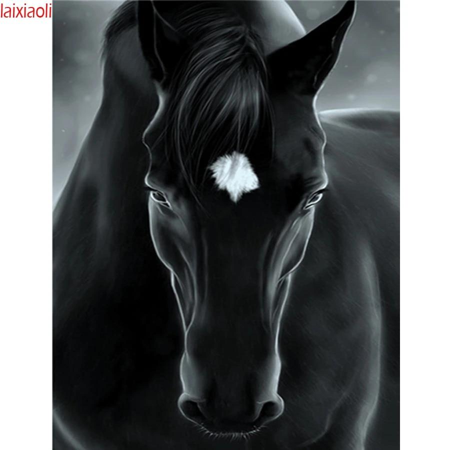 5D Animal Diamond Painting Black Horse Full Drill Cross Stitch DIY Animal Mosaic Home Decoration