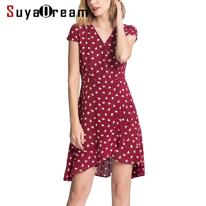 Women MINI dress Luxury 100% Real silk Short sleeved Hearts Printed dresses 2018 Summer Burgundy